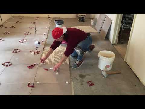 24x24 Kitchen Floor Tile Installation With Dry Pack Toronto / Gta