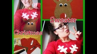 DIY Christmas: Ugly Christmas Sweater / Cute Reindeer Shirt - YouTube