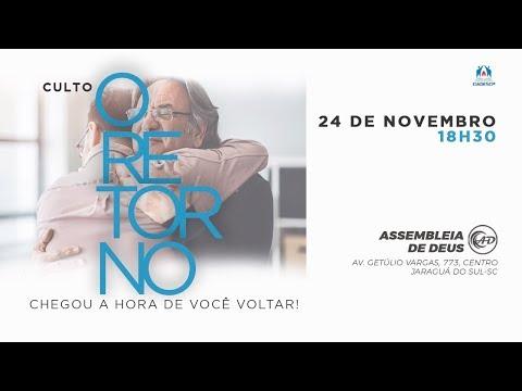 Convite: Culto O Retorno - Dia 24 de Novembro às 1