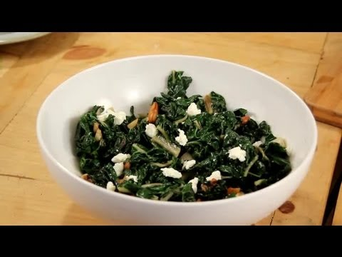 Bitter Greens With Almond & Goat Cheese Recipe : Nuts, Milk, Seeds & Grains