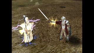 Fight between Saruman and Arvedui from Arnor (both with One Ring) in Lord of The Rings, The Battle for Middle Earth II: The Rise of the Witch-King - Edain Mod