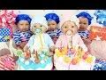 El cumpleaños de Bruno y Abril y las trillizas Baby born juguetes