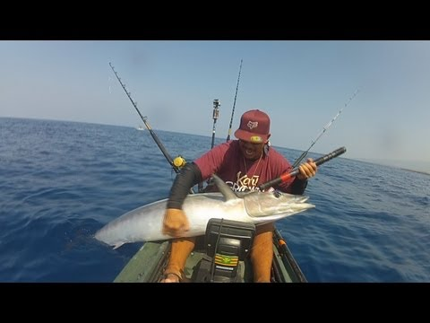 Extreme Kayak Fishing Hawaii - REEL TRIPZ 4 - ONO #71 & #55  - kayak fishing, kayak photos, kayak videos