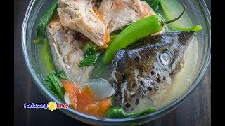 Sinigang na Salmon sa Miso is a version of Sinigang, which is a type of sour soup in clear broth. This recipe suggests to use salmon head. Aside from this part of the fish, salmon steaks or frozen salmon portions can also be used.Sinigang is a popular dish in the Philippines. It has countless versions starting from the traditional ones such as pork and beef sinigang cooked in a clay pot,  to a more progressive approach.