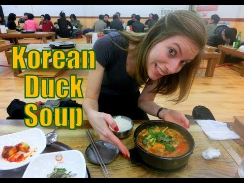 Eating Korean Duck Soup