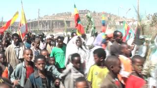 Ethiopian People Marching In The Streets In North Of Ethiopia
