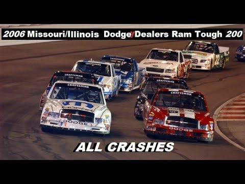 All NASCAR Crashes from the 2006 Missouri/Indiana Dodge Dealers Ram Tough 200 (видео)