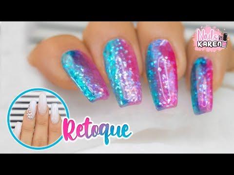 Videos de uñas - RETOQUE de UÑAS ACRILICAS  Efecto Jelly Brillantes
