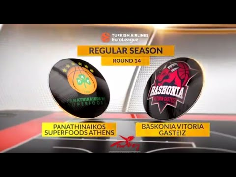 EuroLeague Highlights RS Round 14: Panathinaikos Superfoods Athens 69-68 Baskonia Vitoria Gasteiz