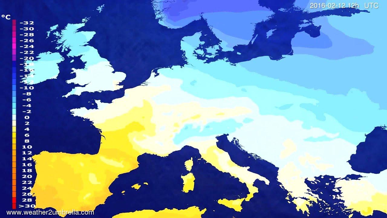 Temperature forecast Europe 2016-02-08