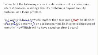 Identifying type of finance problem