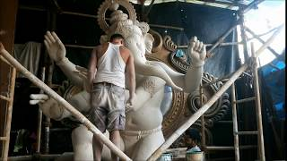 Large Ganpati made at Krunal Patil's workshop in Chinchpokhli