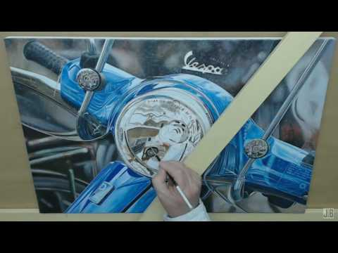 "Time-Lapse Video ""Vespa"" Acrylic Painting"