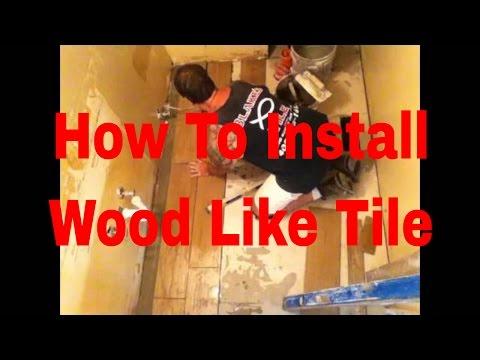 How to install Wood Like Tile flooring in bathroom  by TilingInfo Master Tile Setter.