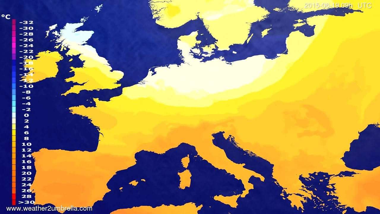 Temperature forecast Europe 2015-06-16