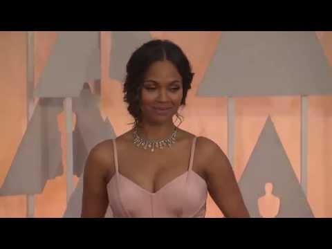 Oscars: Zoe Saldana Red Carpet Fashion (2015)