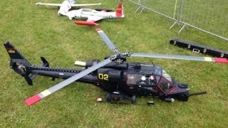 Huge Turbine Powered RC Helicopter At Turbine Jet Meeting In Feurs, France 2013