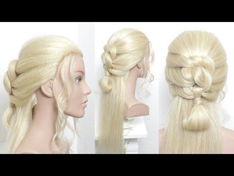 Hairstyles for long hair - Half Up Knotted Braid Mini Bun. Hairstyles For Long Length Hair