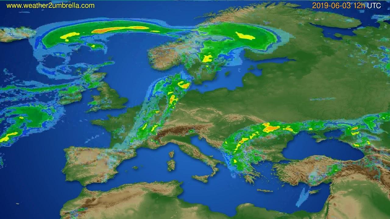 Radar forecast Europe // modelrun: 00h UTC 2019-06-03
