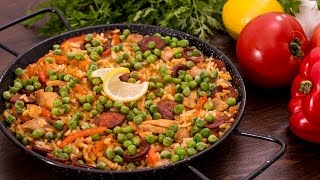 Chicken and Chorizo Paella recipe by Home Cooking Adventure
