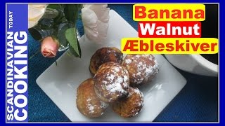 Recently I went to a Viking Festival in Ohio.  I have been meaning to attend the Viking Festival for years.  Loved seeing people dressed up in Viking outfits, vendors selling amber and celebrating all things Viking.  As you may know that Vikings made a version of the Danish aebleskiver as well.  It made me think about doing another Æbleskiver video with our aebleskive cast iron pan.As you may know that I have done lots of different aebleskiver videos.  Today, I thought to make a banana walnut aeblskiver video as I love banana nut bread! 🍌 This recipe is a modern version of an aebleskive recipe adding the filling.  If you don't have time to make the banana filling, just make the aebleskive recipe it tastes great as is!  Below is my recipe!How To Make Aebleskiver With Banana Walnut FillingBanana Walnut Filling  🍌2 bananas1/4 cup of brown sugar1/4 teaspoon of nutmegpinch of salt2 tablespoons of butter1/3 cup chopped walnutsAebleskive recipe1 cup of flour1/2 tablespoon of sugar1/2 teaspoon of baking powder1/4 teaspoon of salt2 eggs1 cup of milk1 teaspoon of vanilla extract2 tablespoons of melted butter❄️We hope you enjoyed our video and recipe!  ❄️ Give us thumbs up if you like this video & subscribe for more videos. 👍👍 Thanks! Tak!❄️For notifications of our video release click on the bell (lower left of the video)❄️ SUBSCRIBE to learn how to make Scandinavian dishes. https://www.youtube.com/user/ScandinavianToday❄️ Our Scandinavian Today Cooking Show includes Nordic recipes including Danish, Norwegian, Swedish, Icelandic and Finnish. You might be interested in other Nordic cooking videos includingÆbleskiver ♥ How to Make Danish Aebleskiver with Apple Filling  ❅https://youtu.be/mb8Y9IyfMS4How to make Swedish Glogg for Christmas & cold evenings! (glögg or mulled wine recipe) https://youtu.be/uDJNn6-nZFE?list=PLa1Ox7dzyyvmNEm41VkP1FP_SPhgeUkzSHow to make our easy Danish cucumber salad (Agurkesalat) recipe https://youtu.be/8J-4NPWaTlUHow to make Danish Kringle - A Deliciou
