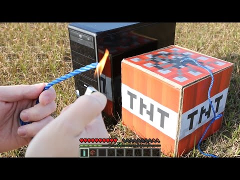 Minecraft in Real Life! blow up a PC with TNT!! | RATE