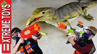 Wild Monitor Lizard Stow Away Part 2! Giant Lizard Toy Attacks! Boys Fight Back with Nerf Blasters.