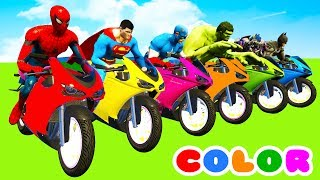 Video MotorCycles COLOR for Babies in Cars Cartoon & Superheroes for kids MP3, 3GP, MP4, WEBM, AVI, FLV September 2018