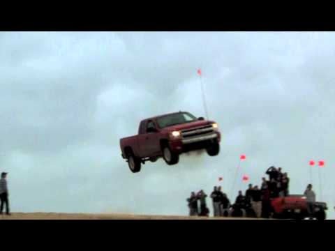 Chevy Silverado jump at Silver Lake, Michigan