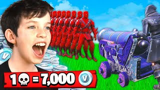 1 Elimination = 7,000 *free* V-Bucks With My Little Brother (Fortnite Battle Royale)