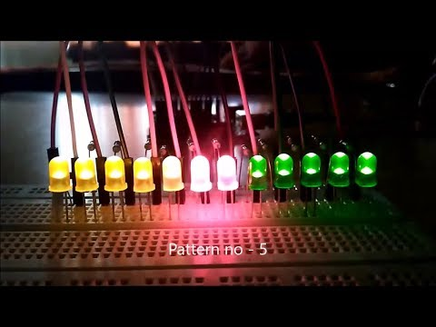 12 LED Blinking of 5 different patterns using Arduino
