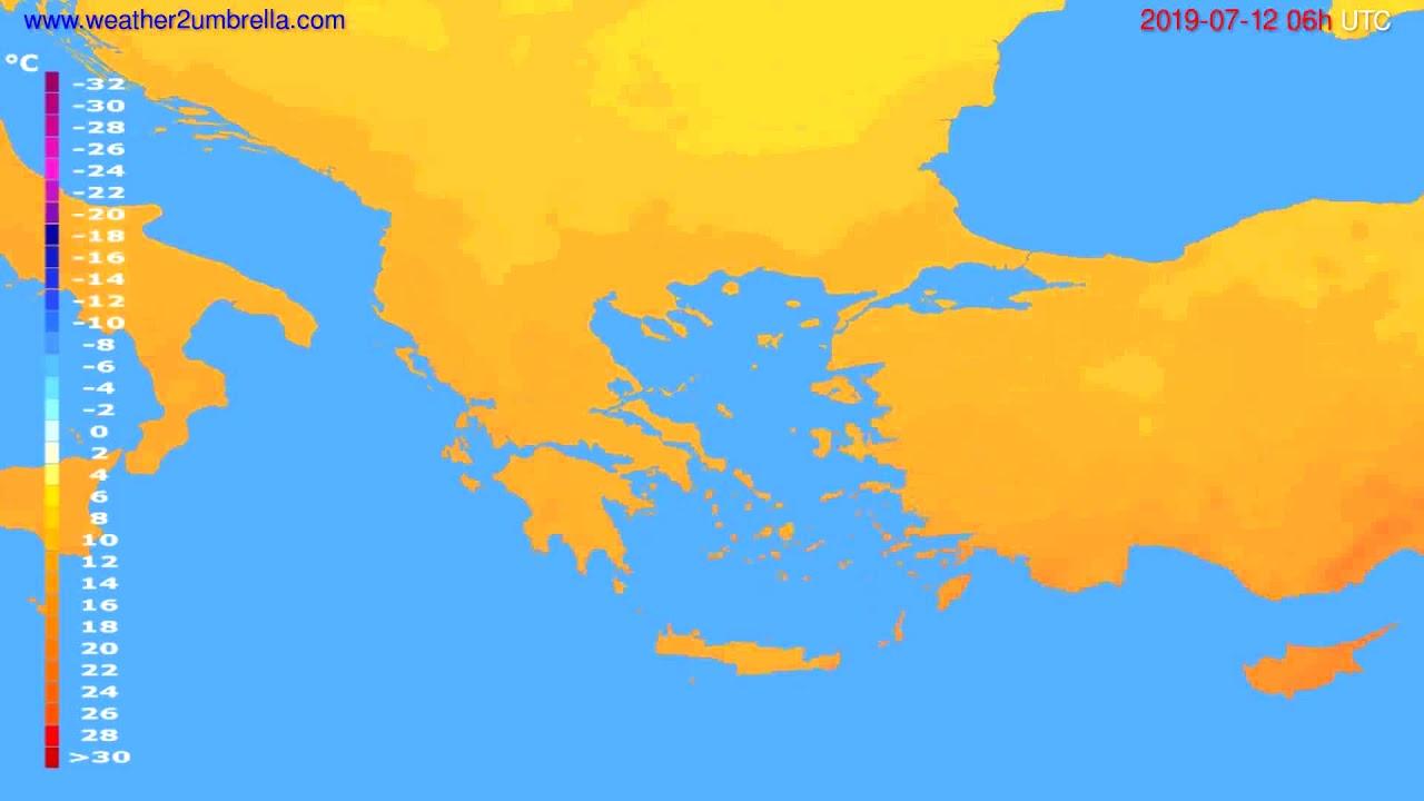 Temperature forecast Greece // modelrun: 12h UTC 2019-07-09