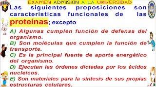 Bioquímica , Proteínas pregunta resuelta de Biología. Prueba de ingreso a la universidad nacional del callao -UNAC - soluciones...
