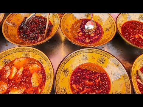 Chinese Farmers Market Tour in Szechuan, China |  BEST Street Food + SPICY Szechuan Sauce in China