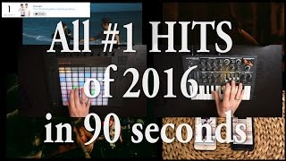 A mashup/remix of every #1 Billboard hit of 2016* in under 90 seconds.This started as a small experiment: How far could you go layering all the number one hit songs of 2016? I gotta be honest... this still is a small experiment, but it was too funny not to share ;)Every instrument is played by my. Everyone who knows me can probably hear that I'm not the singer on any of those tracks. I made this just for the sake of getting to know Ableton Live as good as I can (and for fun :D), and I like to have a certain goal when I do.Enjoy!* Source: https://en.wikipedia.org/wiki/List_of_Billboard_Hot_100_number-one_singles_of_2016