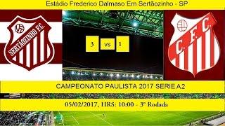 PAULISTÃO SERIE A2 2017 - GOLS DO JOGO ESTÁDIO FREDERICO DALMASO EM SERTÃOZINHO - SP JOGO DA 3° RODADA SERTÃOZINHO 3 X 1 CAPIVARIANO TRANSMISSÃO: TV GLOBO SP...