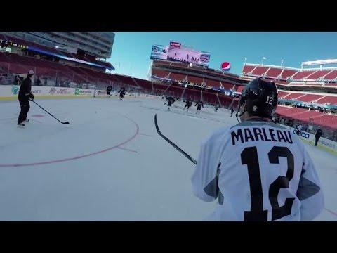 Sharks Goalie Alex Stalock Wears the GoPro at Stadium Series Practice