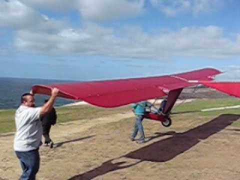 ultralight sailplane - Narrative of airchair flying at Torrey Pines, San Diego, California, on December 22, 2009. Floyd Fronius flies the Red Goat off the cliff, up into the lift, ...