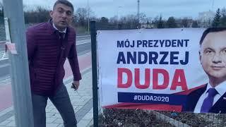 Sztab wyborczy Andrzeja Dudy łamie prawo bez zgody wieszając baner płocie!