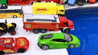 Lamborghini Toy car wash with Trucks