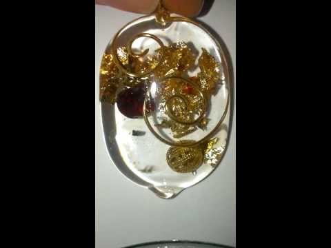 Orgone Energy Generator Earring and Pendant Set with Quartz and Garnet