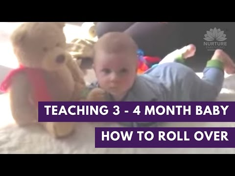 Teaching your 3 - 4 month old baby how to roll over - watch Abigail & Finley do a rollover