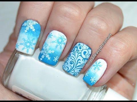 nail art - tutorial natalizio con i fiocchi di neve