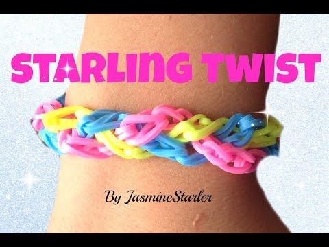 Loom bands STARLING TWIST (Original design) Rainbow Loom Bracelet Tutorial l JasmineStarler