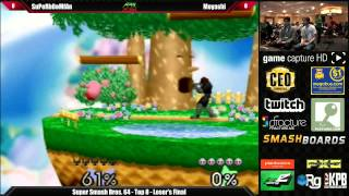 Winners and Losers Finals from Apex 2014 SSB64: Isai vs. Moyashi and SuPeRbOoMfAn vs. Moyashi