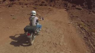 10. My wife Wrecking on the XT250 at Moab midway up Hurray pass