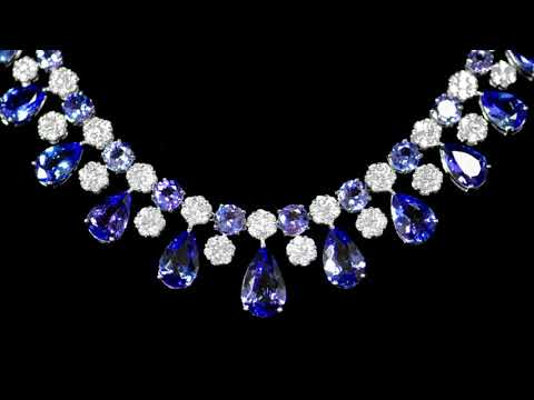 18k White Gold 66ct (TW) Tanzanite and Diamond Necklace and Earrings Set