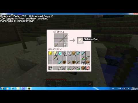 comment construire une canne a peche dans minecraft