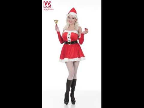 Déguisement miss Noël avec robe, ceinture, gant et chapeau