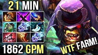 WTF IS THIS 21 Min 9 ITEMS 1862 GPM Battle Fury Alchemist Insane Farm Style by Ahjit 7.07 Dota 2